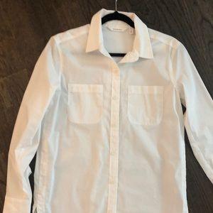 Athleta white button down tunic
